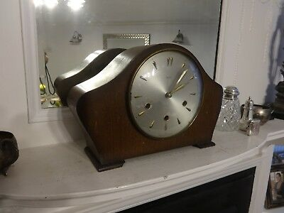 Antique Art Deco Smiths K6A Westminster Chimes Mantle Clock, Wooden Case