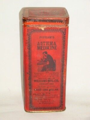 Nice Old Paper Label Popham's Asthma Advertising Pharmaceutical Medicine Tin Can