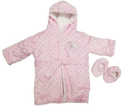 Blankets and Beyond Girls Bathrobe & Slippers Set Pink