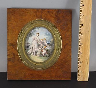 Antique Grand Tour Miniature Painting Classical Nude Woman Flower Garden Puti