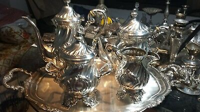 4021g STERLING SILVER RICH ENGLISH STYLE CARVING COFFEE TEA SET 5 ITEMS: PEREZ F