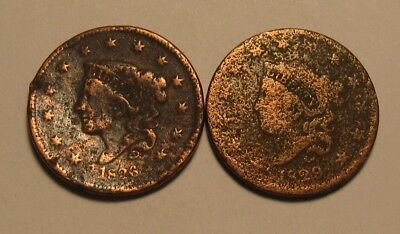 1829 & 1836 Coronet Head Large Cent Penny - Corroded Condition - 6SA-3