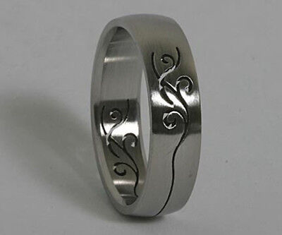Men Women 316L Stainless Steel Tribal 6mm Ring Band Size 5 - 10 NEW SS5