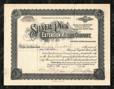 1906 GOLDFIELD Silver Pick Extension Mining Company Stock Certificate NEVADA