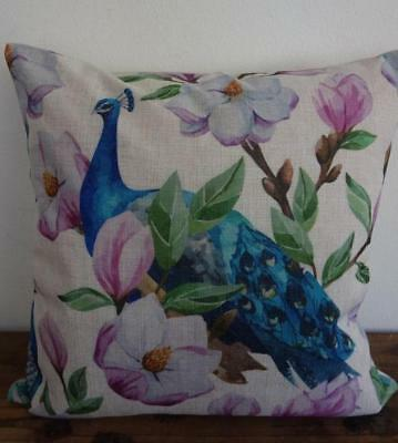 Teal Turquoise Peacocks Pink Magnolia Linen Blend Cushion Cover 45cmn