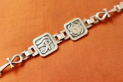 Unique Egyptian Solid Sterling Silver Bracelet Ancient ANKH,Scarab,Eye of Horus