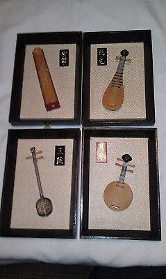 Vintage 4 Chinese Miniature Wooden Musical Instruments Individually Framed