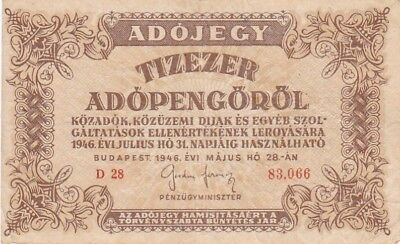 1946 10,000 Hungary Adopengo Note, Pick 143a