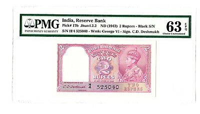 India 2 Rupees ND 1943 George VI Note P. 17b PMG 63 EPQ Choice UNC Rare