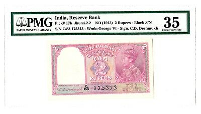 India 2 Rupees ND 1943 George VI Note P. 17b PMG 35 Choice VF Rare