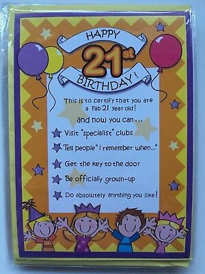 20 X HAPPY 21st BIRTHDAY Gift Certificate Card Envelope Male Female JOB LOT BNIP