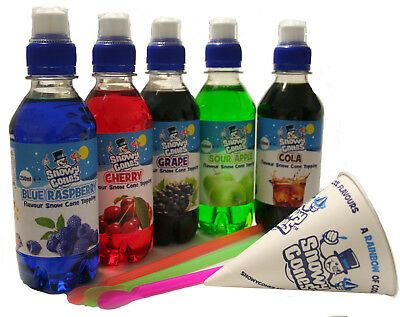 Snow Cone Syrup 5 x 250ml pack , Not Slush puppie, Free cones and straw spoons
