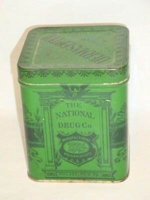 Nice Old Tin Litho National Drug Co Advertising Pharmaceutical Medicine Tin Can