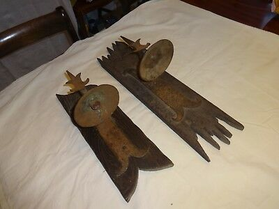 Antique French Pair of Forged Iron Wall Sconce,s in original condition.