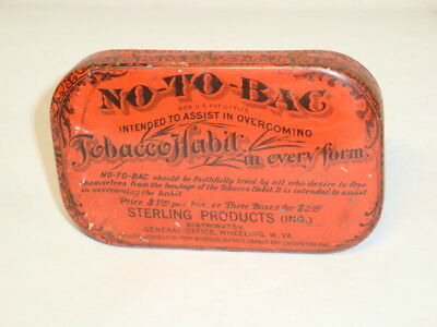 Nice Old NOS Flat Pocket No-To-Bac Advertising Pharmaceutical Medicine Tin Can