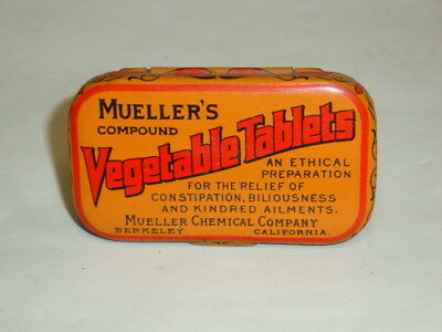 Nice Old Flat Pocket Mueller's Laxative Advertising Pharmaceutical Medicine Tin