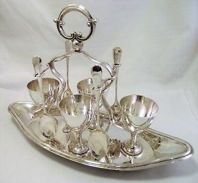 Vintage Silver Plate Epns Egg Cruet Egg Cup Stand - Large Cups