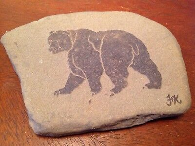Laser Cut Sandstone Grizzly Black Brown Bear~Paperweight~Great Gift~Coaster~EXC!
