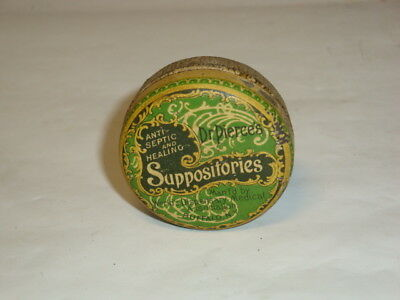 Nice Old Dr. Pierce's Suppositories Advertising Pharmaceutical Medicine Tin Can