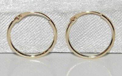 54f0656b2 9CT GOLD CHILDREN'S 10mm HINGED SLEEPER HOOP EARRINGS - CHILD'S - SOLID 9CT  GOLD