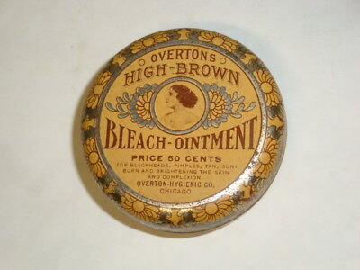 Nice Old Overtons Skin Bleach Ointment Advertising Pharmaceutical Medicine Tin
