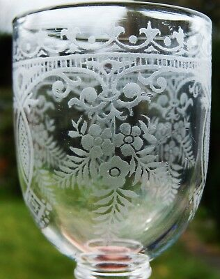 Fine Antique Victorian Hand Blown and Acid Etched Wine Glass c1860