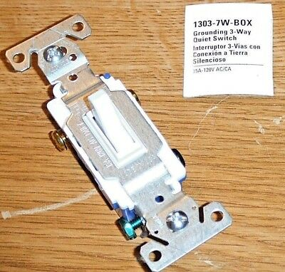 Cooper 3-Way White Quiet Toggle Wall Light Switch Control 15A 120VAC C1303-7W