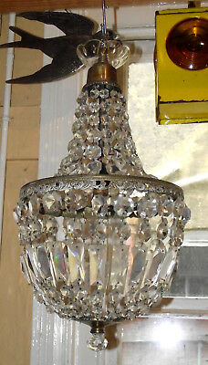 ANTIQUE FRENCH ROCOCO ART DECO LEAD CRYSTAL TENT & BAG CHANDELIER 50 cm DROP 'B'
