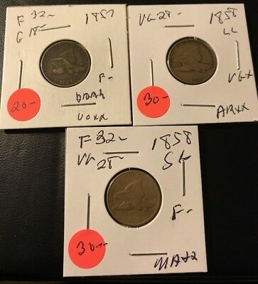 3 Coin Flying Eagle Set 1857 - 1858 Ll - 1858 Sm L - Good Price - Please Read