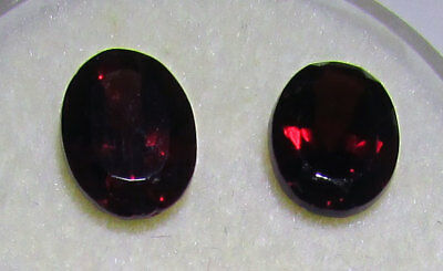Garnets Pair 8x6mm 3.3ct.T.W.  Oval Natural Faceted Gem Stones Priced as pair