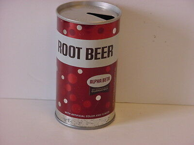Alpha Beta Root Beer Straight Steel Pull Tab Top Opened Soda Can No Bar Code