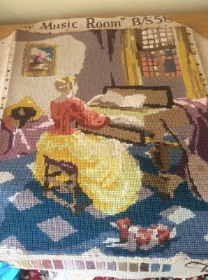 """Vintage Penelope Completed Tapestry - Titled """" The Music Room"""""""