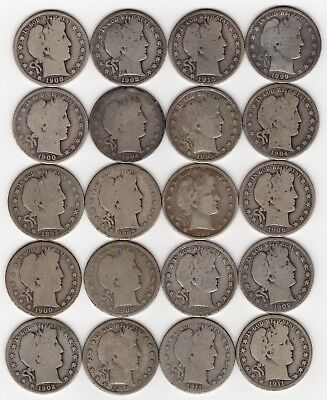 20 U.S. 1895-1915 Barber Silver Half Dollar Coins - $10.00 Face - 7.15 Troy Oz