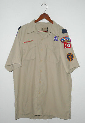 BOY SCOUTS Of America UNIFORM Shirt #633 SEWN PATCHES Mens VENTED BACK : LG