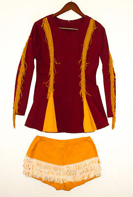 Vtg 60s MARCHING BAND 2 pc Outfit Set MAROON/GOLD Fringe Dress Majorettes NEW Sm
