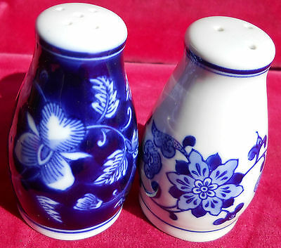 Pier 1 Mandarin Salt Pepper Shakers Set S Blue/White Chintz Porcelain 3 1/2""
