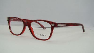 a8ece4f087f VERSACE 3153 935 Red   Black Stripes Brille Glasses Frames Eyeglasses Size  51