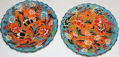 "7"" Blue & Orange Turkish Handmade Iznik Tulip & Floral Pattern Ceramic Plate SET"