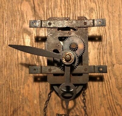 Vintage Antique Weight & Chain Driven Pendulum Mechanism Wall Cuckoo Clock Spare