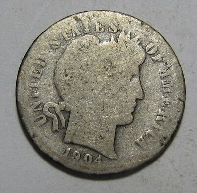 1904 S Barber Dime - About Good Condition - 90SU