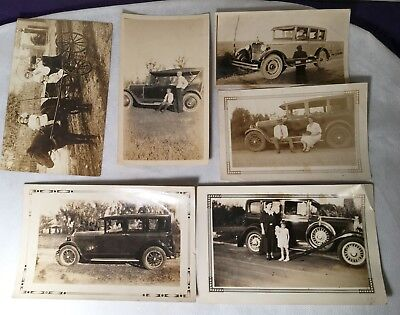 Lot of 6  Antique Photo 1920s? CARS  Model T Ford Tudor Horse Buggy post card