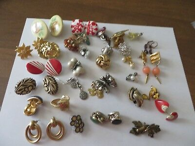 Nice Mixed Lot Of 32 Pairs Of Earrings,most Vintage