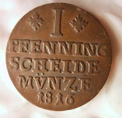 1816 GERMAN STATES (BRUNSWICK) PFENNIG - AU - VERY Rare Coin - Lot #A15