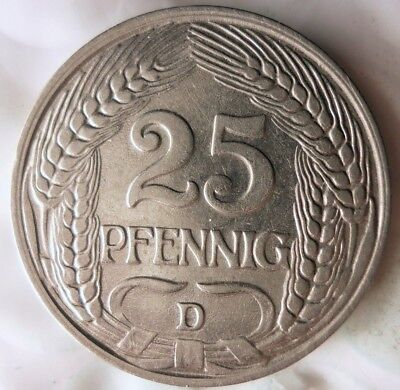 1910 D GERMAN EMPIRE 25 PFENNIG - AU/UNC - Rare High Value Type Coin - Lot #A15