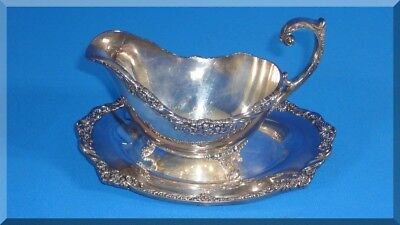 1847 Rogers Bros Heritage 2 Piece Gravy Sauce Boat And Tray Plate #9413