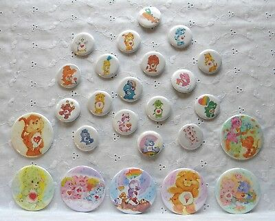 Huge Lot of 25 Care Bear Buttons Pinbacks 18 Small & 7 Large Very Cute!
