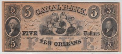 Crisp/Uncirculated 1840's-1850's $5 New Orleans Canal Note (G.Washington)...NR!