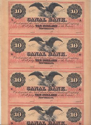 Crisp/Uncirculated/Uncut Sheet of 4 1850's $10 Eagle New Orleans Canal Notes..NR