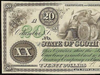 Large Unc 1873 $20 Dollar Bill State Of South Carolina Note Big Paper Money