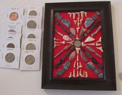 Display of Trilobite & Shark Teeth Fossils, Neolithic Arrowheads & Coins
